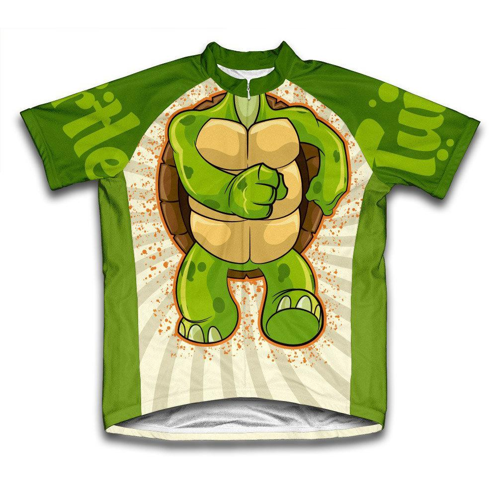 Unisex Extra Large Green Turtle Microfiber Short-Sleeved Cycling Jersey