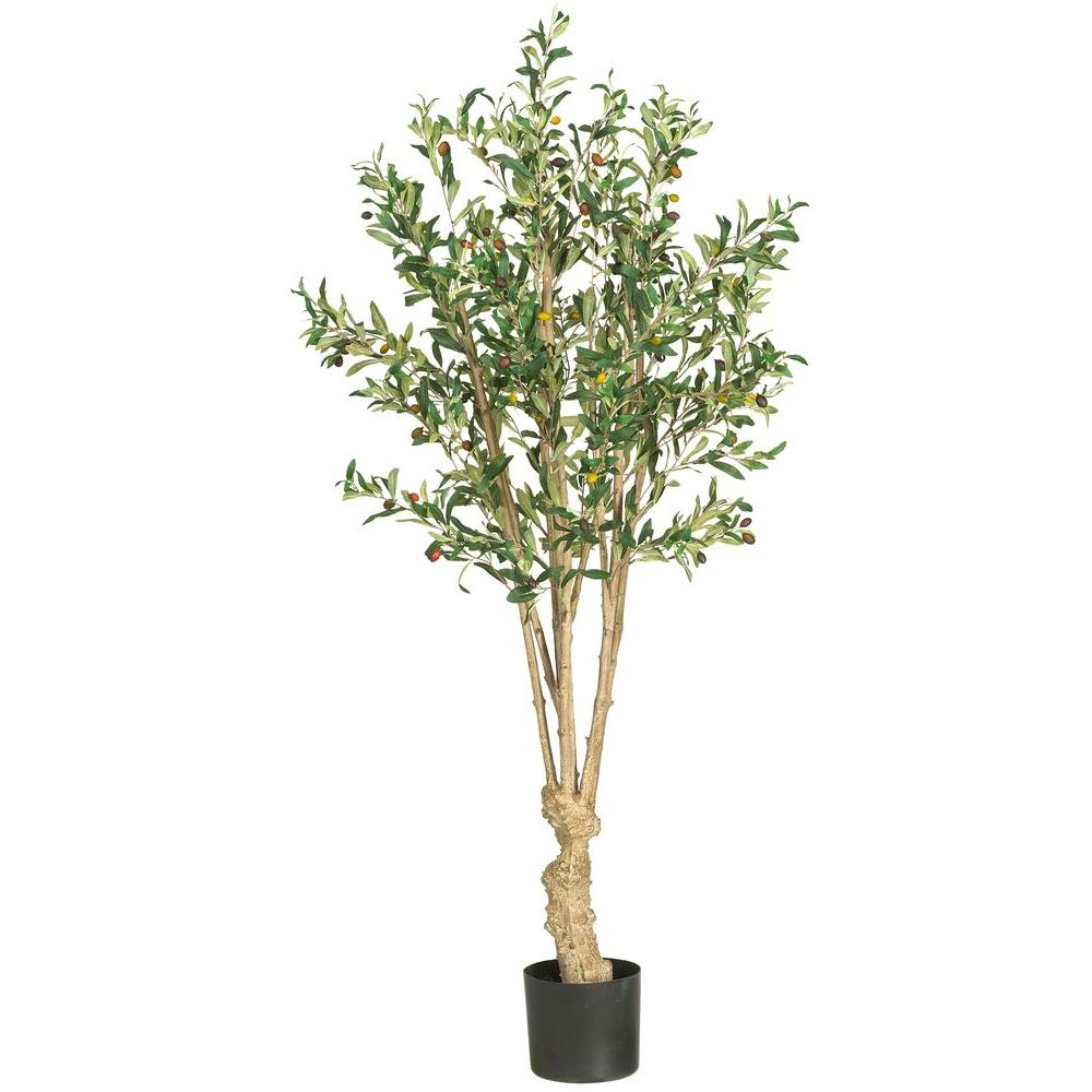 Nearly Natural 5 ft. Olive Silk Tree, Greens