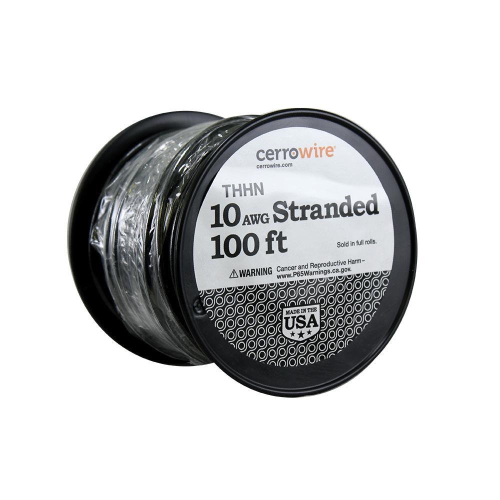 100 ft. 10/1 Black Stranded THHN Wire