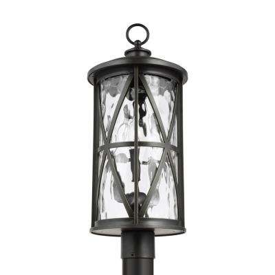 Millbrooke 10 in. W 3-Light Antique Bronze Outdoor Post Light with Seeded Glass