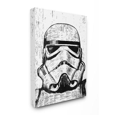 """24 in. x 30 in. """"Black and White Star Wars Stormtrooper Distressed Wood Etching"""" by Artist Neil Shigley Canvas Wall Art"""