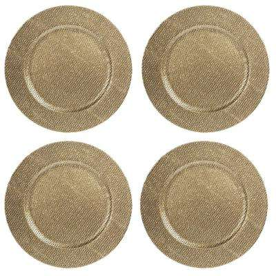 Home Essentials & Beyond 13 in. 4-Piece Gold Diamond Plate Charger Set