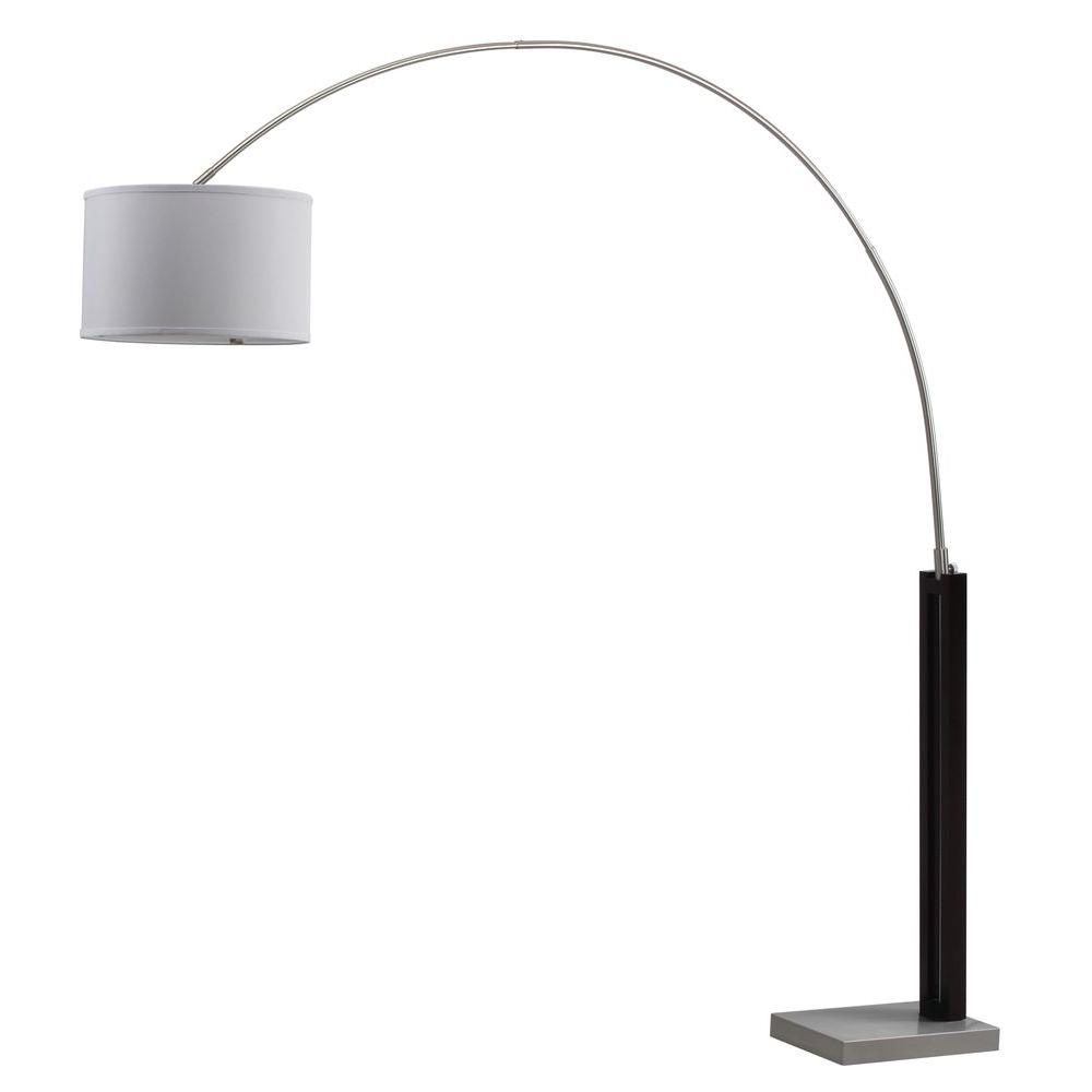 Black Nickel Arc Floor Lamp With Off White Shade