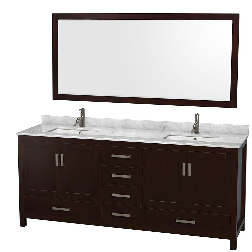Wyndham Collection Sheffield 80 in. Double Vanity in Espresso with Marble Vanity Top in Carrara White and 70 in. Mirror