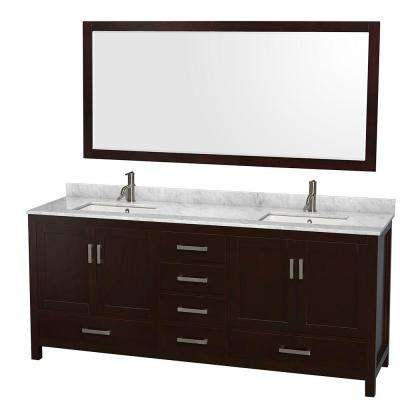 Sheffield 80 in. Double Vanity in Espresso with Marble Vanity Top in Carrara White and 70 in. Mirror