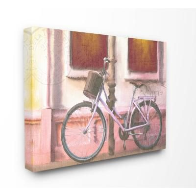 "24 in. x 30 in. ""Golden Hour Warm Bicycle at Sunset Painting"" by Kimberly Allen Canvas Wall Art"
