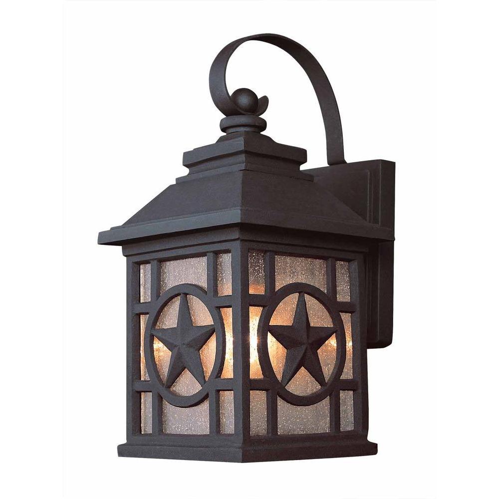 Bel Air Lighting Texas Star Wall-Mount 1-Light Outdoor Black Lantern (2-Pack)-DISCONTINUED