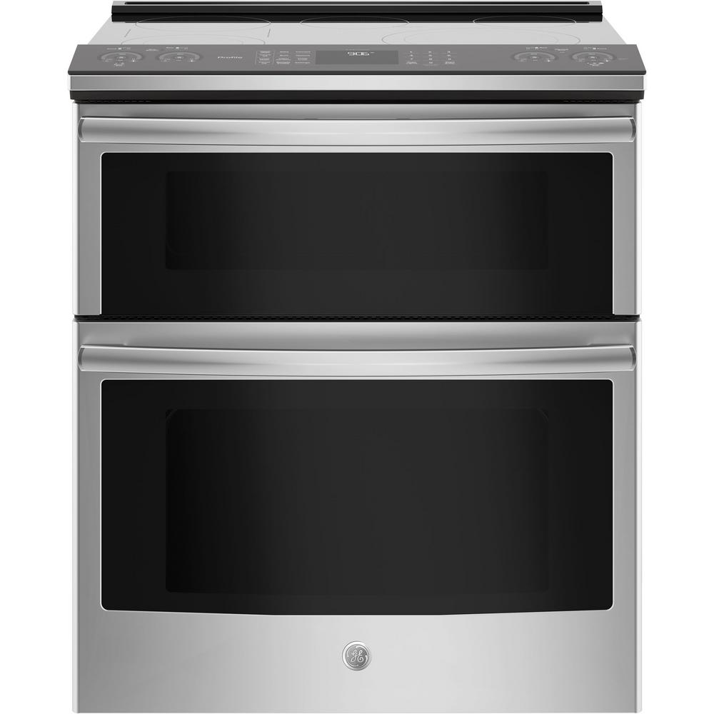 Ge Profile 6 Cu Ft Slide In Smart Double Oven Electric Range With Self Cleaning Convection Stainless Steel