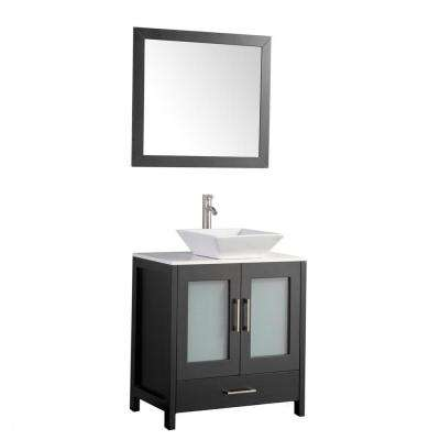 36 in. W x 18.5 in. D x 36 in. H Vanity in Espresso with Quartz Vanity Top in Off-White with White Basin and Mirror
