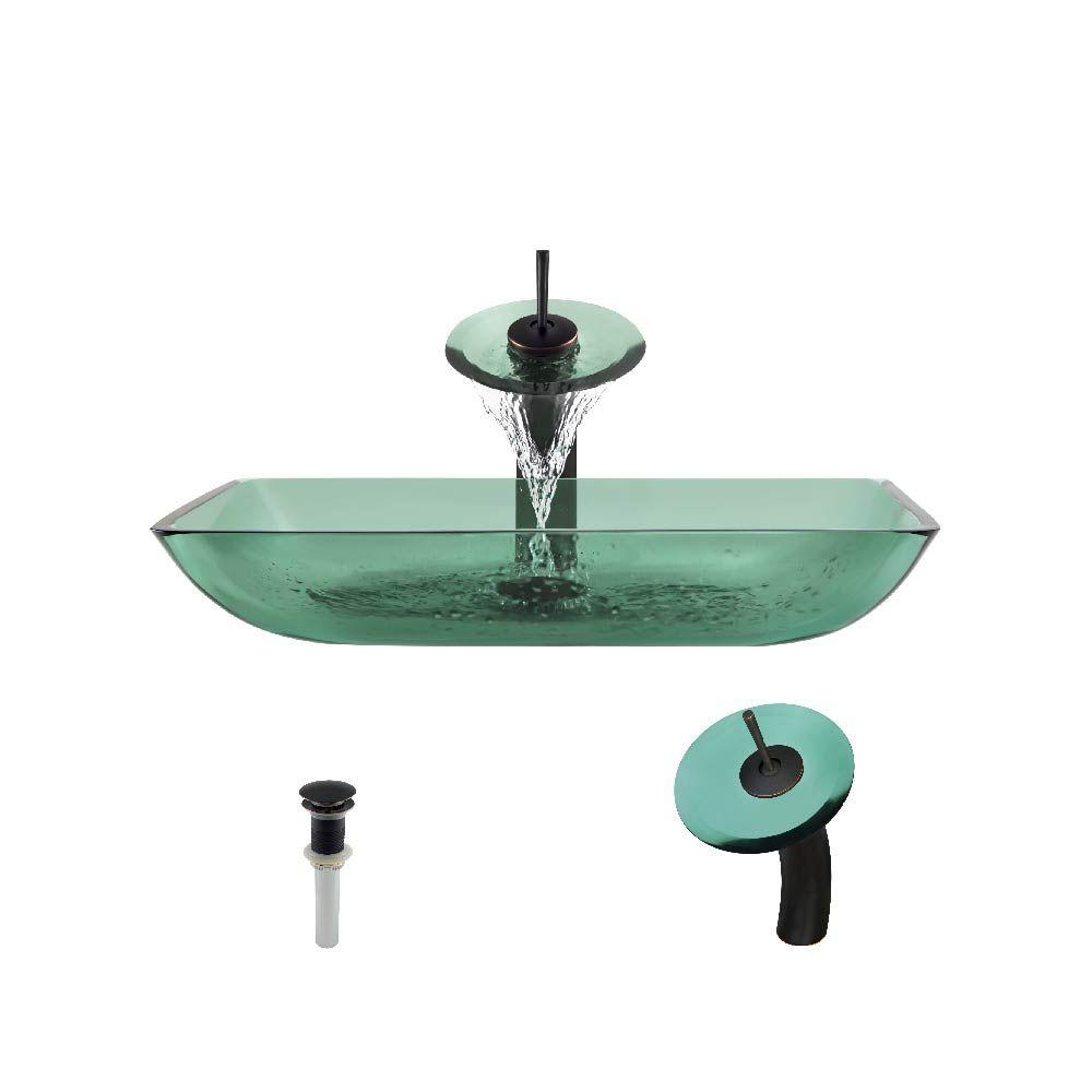 Mr Direct Glass Vessel Sink In Emerald With Waterfall
