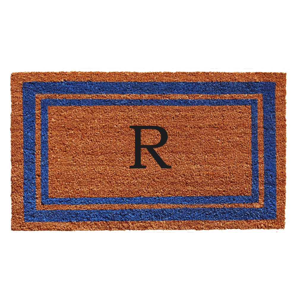 Blue Border Monogram Door Mat 18 in. x 30 in. (Letter