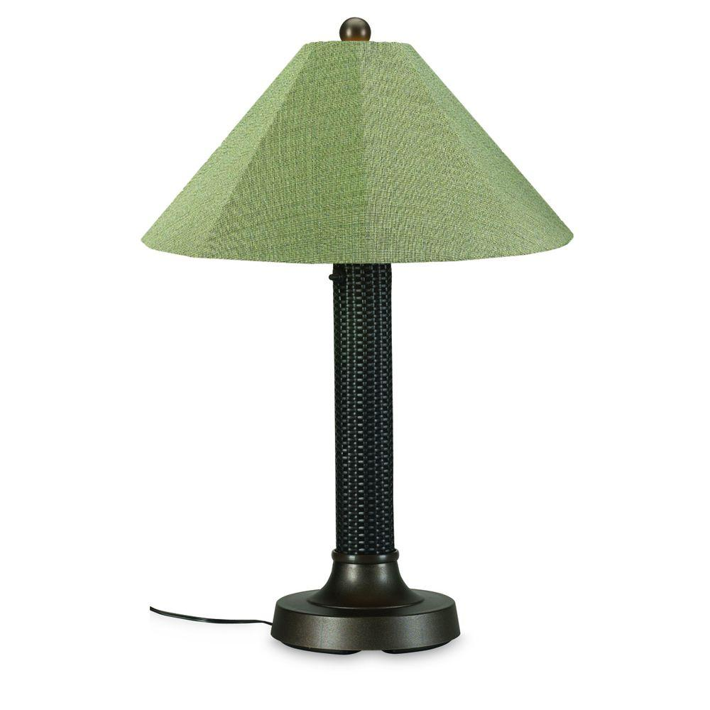 Bahama Weave 34 in. Dark Mahogany Outdoor Table Lamp with Basil