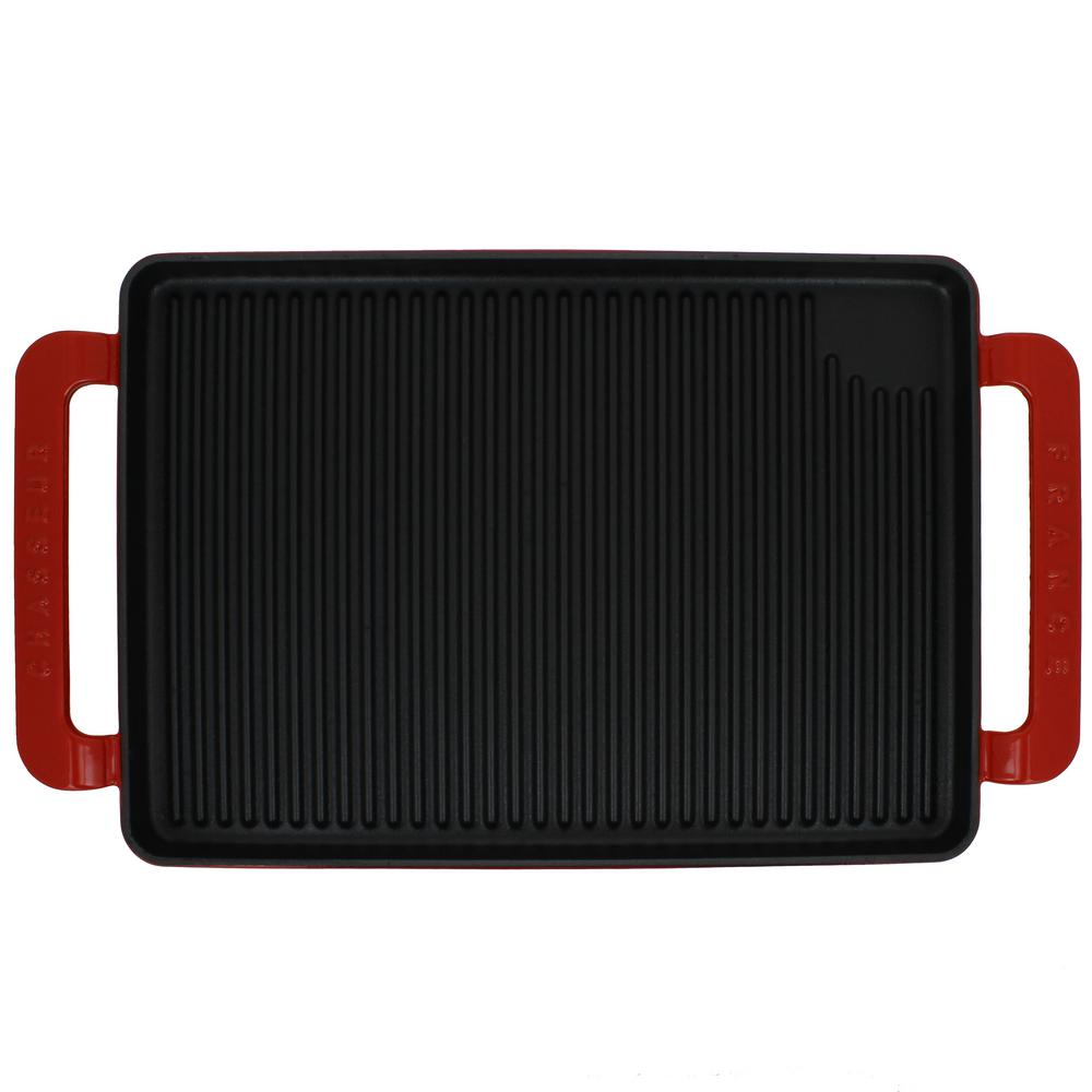 14 in. Red Rectangular French Enameled Cast Iron Grill Pan with