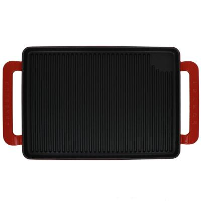 14 in. Red Rectangular French Enameled Cast Iron Grill Pan with Handles