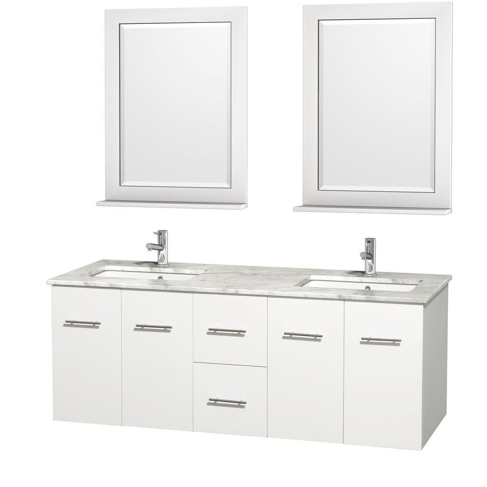 Wyndham Collection Centra 60 in. Double Vanity in White with Marble Vanity Top in Carrara White, Square Sink and 24 in. Mirror