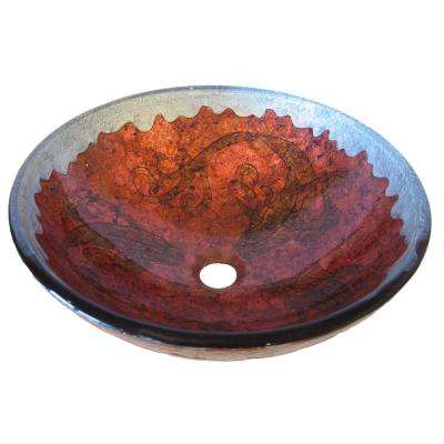 Carpione Glass Vessel Sink in Painted Red and Silver