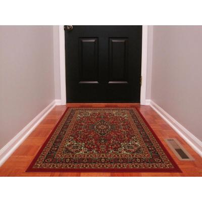 Ottohome Collection Traditional Persian All-Over Pattern Design Dark Red 3 ft. x 5 ft. Area Rug