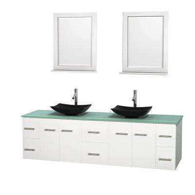 Centra 80 in. Double Vanity in White with Glass Vanity Top in Green, Black Granite Sinks and 24 in. Mirrors