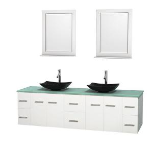 Wyndham Collection Centra 80 inch Double Vanity in White with Glass Vanity Top in Green, Black Granite Sinks and 24 inch... by Wyndham Collection