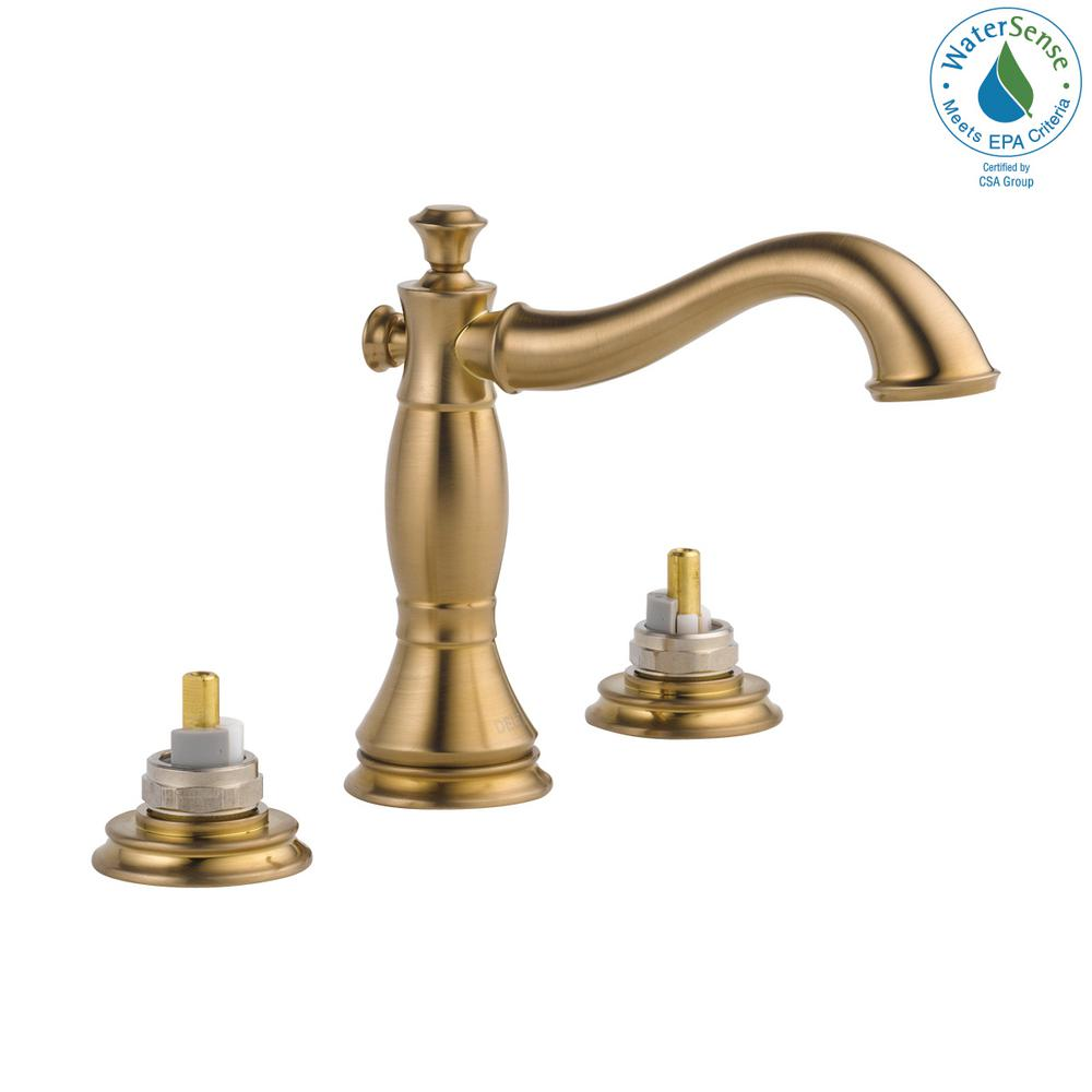Delta Cassidy 8 in. Widespread 2-Handle Bathroom Faucet with Metal Drain  Assembly in Champagne Bronze (Handles Not Included)