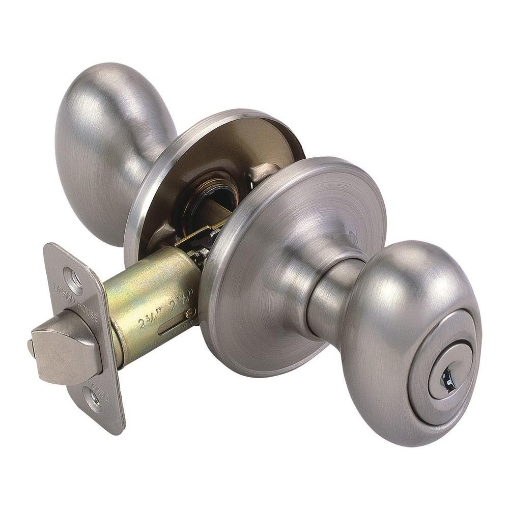 Design house egg satin nickel entry knob 750505 the home for Door knob design house