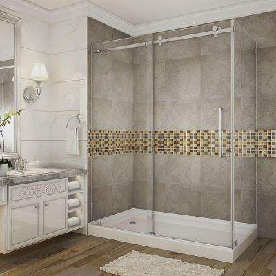 Moselle 60 in. x 35 in. x 77.5 in. Completely Frameless Sliding Shower Enclosure in Chrome with Left Drain Base