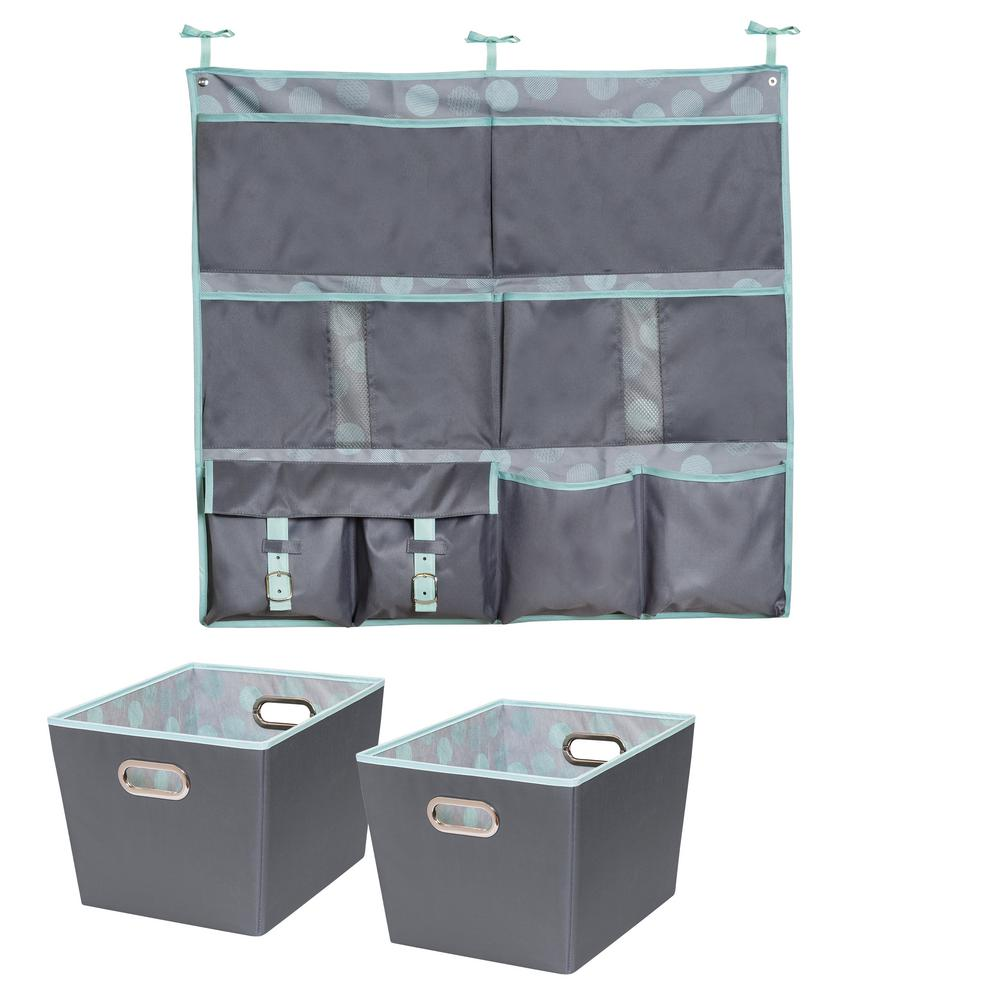 Hanging Organizer And 15 75 In X 10 8 Mint Polyester Bin 2 Pack