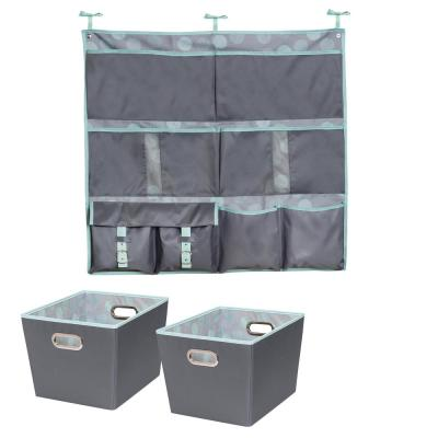 10 lb. Hanging Organizer and 15.75 in. x 10.8 in. Mint Polyester Bin (2-Pack)