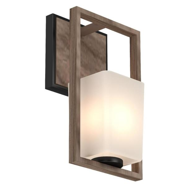Volume Lighting Paxton 1 Light 6 In Pecan And Black Indoor Vanity Wall Sconce Or Wall Mount With Frosted Glass Tapered Shade 5561 87 The Home Depot