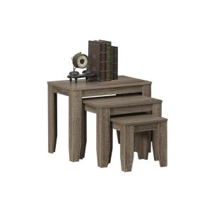 Captivating Dark Taupe 3 Piece Nesting End Table