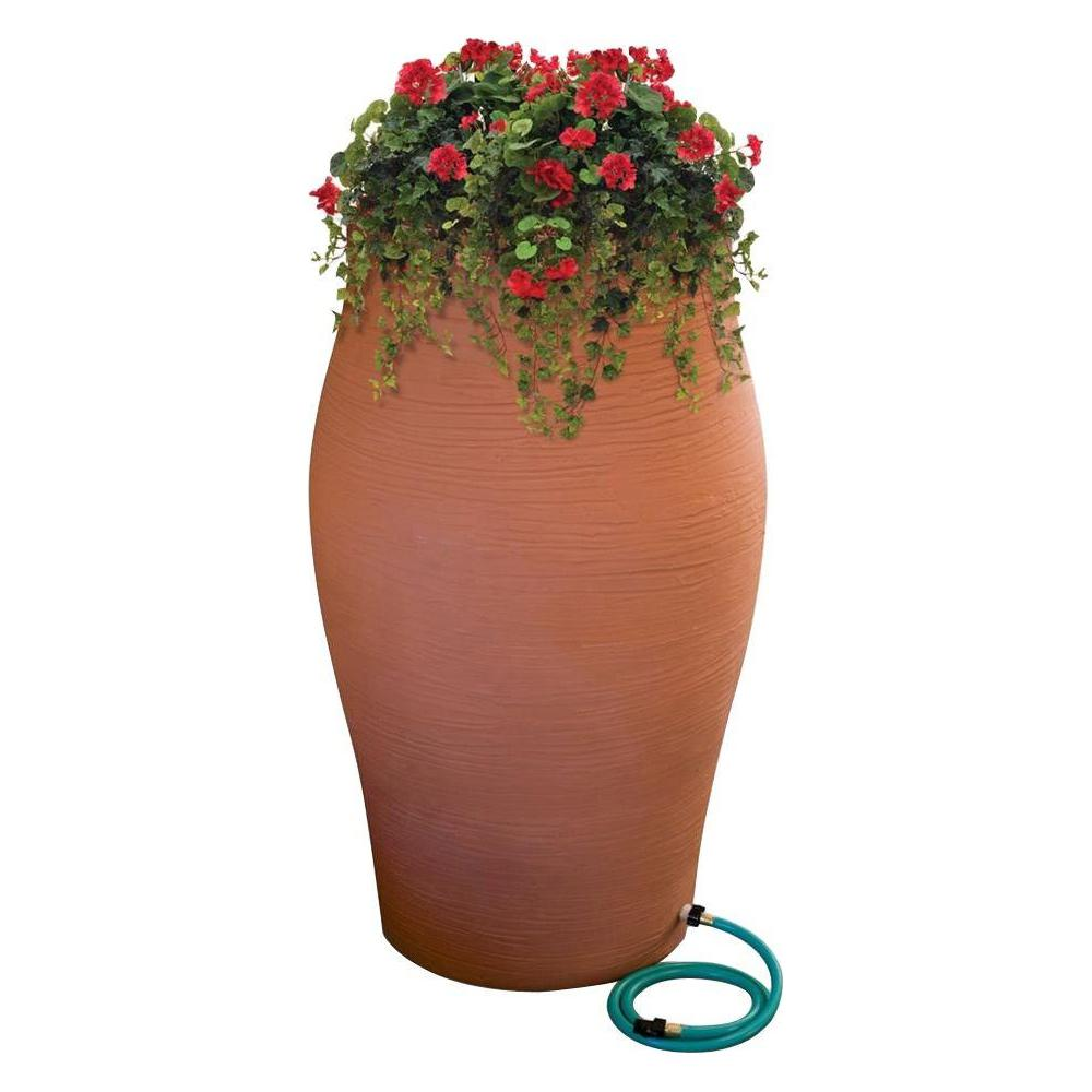 RESCUE 50 Gal. Terra Cotta Water Urn Flat-Back Rain Barrel with Integrated Planter and Diverter Kit