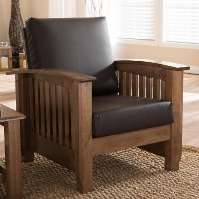 Charlotte Dark Brown Faux Leather Upholstered Accent Chair