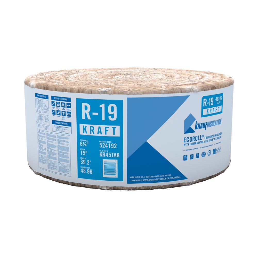 R-19 EcoRoll Kraft Faced Fiberglass Insulation Roll 6-1/4 in. x 15 in. x 39.16 ft.