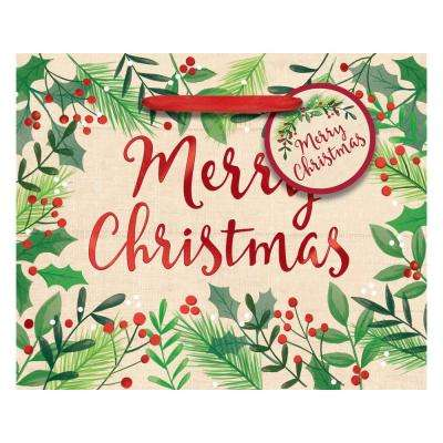 4.5 in. x 5.5 in. x 2.75 in. Christmas Merry Holly Day Hot Stamped Paper Small Horizontal Bag (24-Pack)