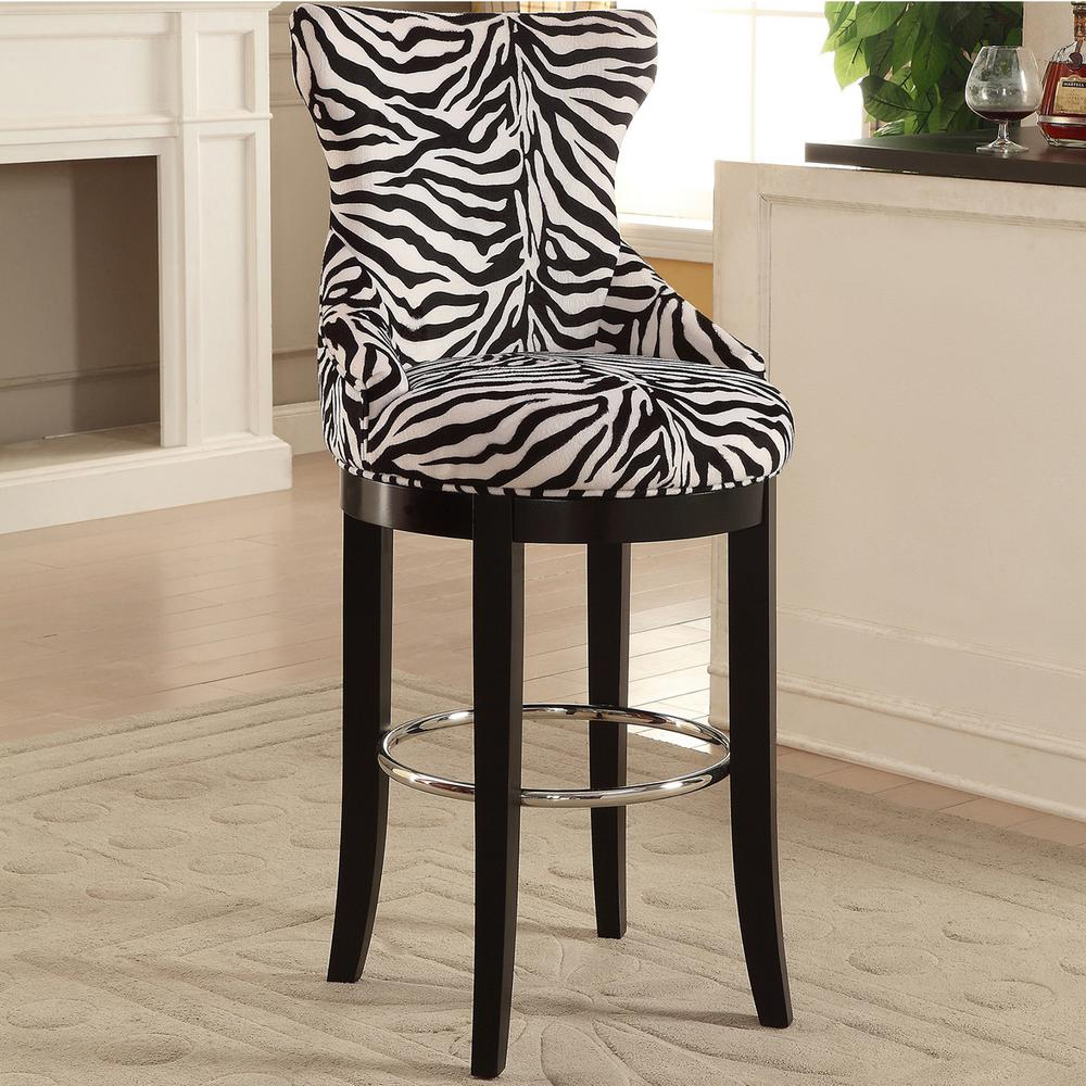 Baxton Studio Peace Zebra Printed Fabric Upholstered Bar