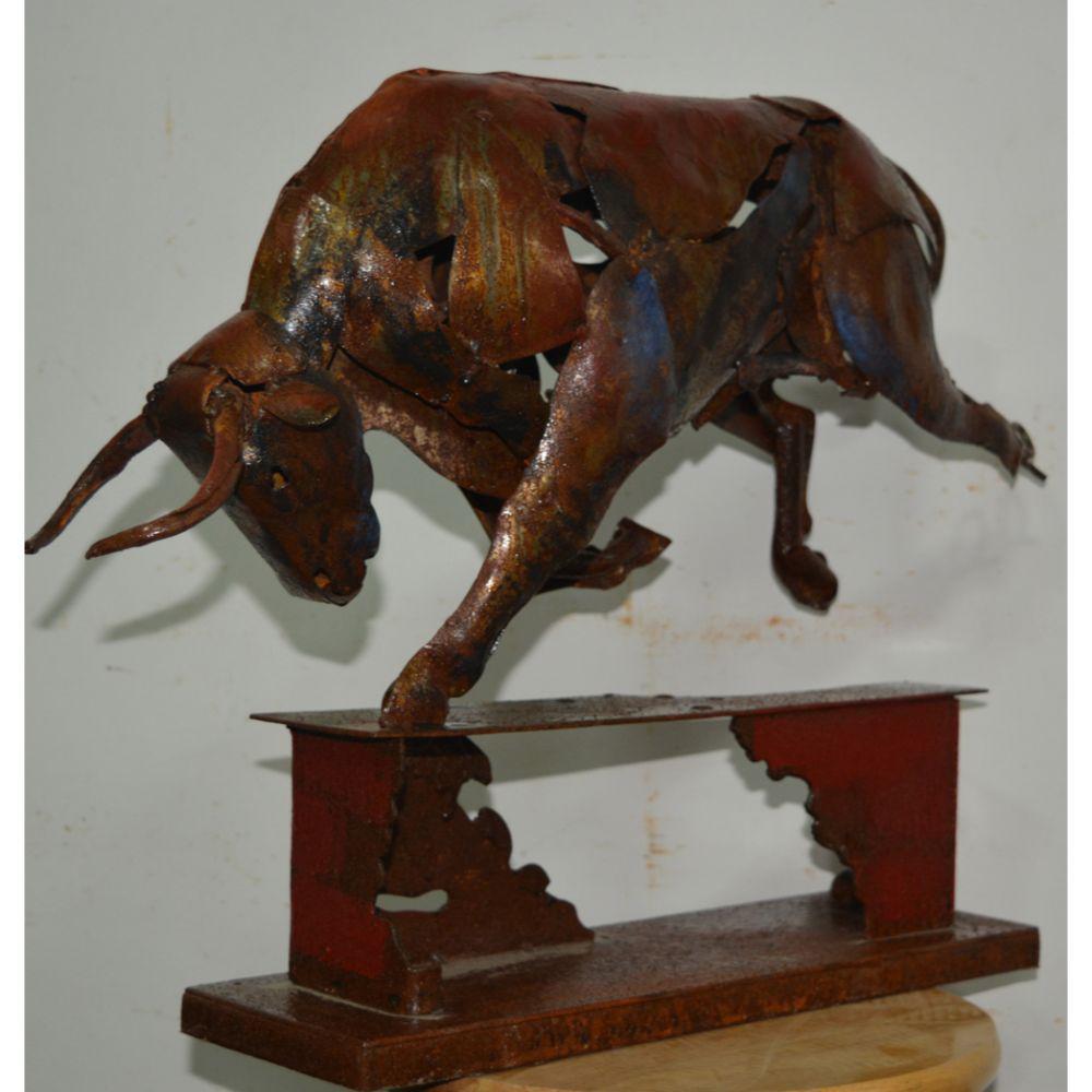 Raging Bull Brown Metal Sculpture
