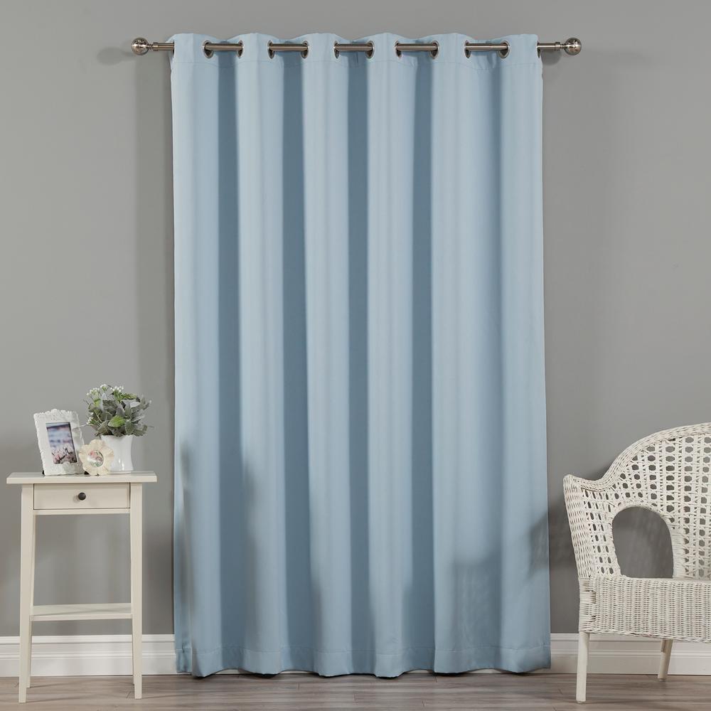 Wide Width Basic Silver 80 in W. x 96 in. L Grommet Blackout Curtain in Sky Blue