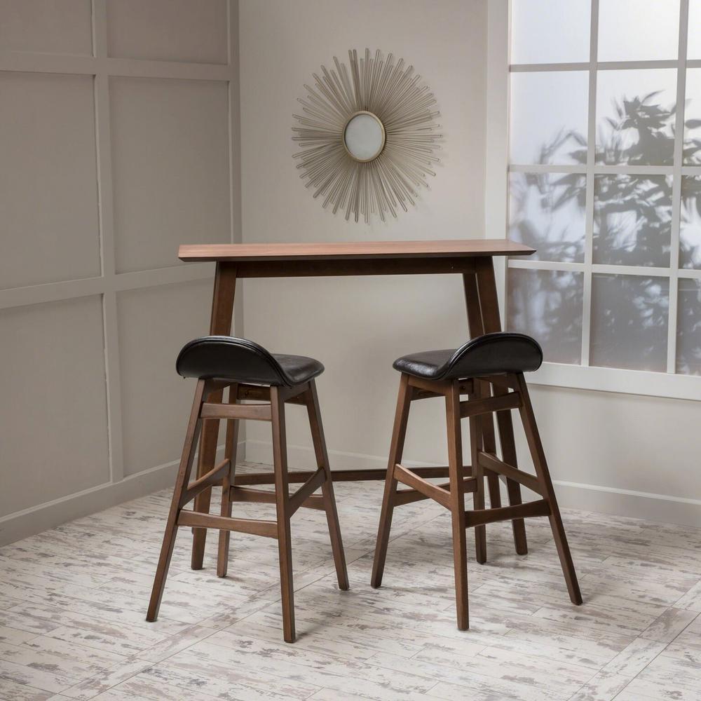 3-Piece Natural Walnut Wood and Dark Brown Leather Bar Set