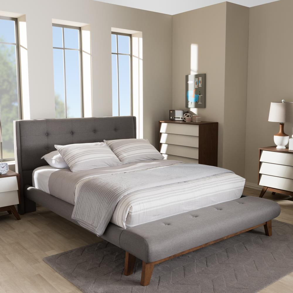 Bedroom Wood Ceiling Ideas Upholstered Bed Bedroom Bedroom With Bench Ideas Bedroom Ceiling Lighting Fixtures: Baxton Studio Reena Gray Fabric Upholstered Full Platform