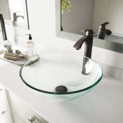 Glass Vessel Sink in Crystalline and Linus Vessel Faucet Set in Antique Rubbed Bronze