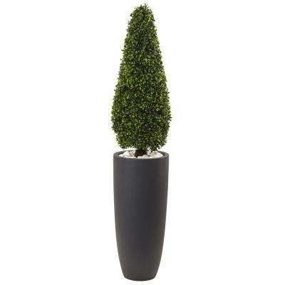 50 in. Boxwood Topiary with Gray Cylindrical Planter UV Resistant (Indoor/Outdoor)