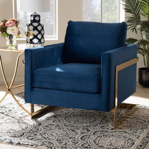 Baxton Studio Matteo Royal Blue And Gold Fabric Armchair 156 9782 Hd The Home Depot