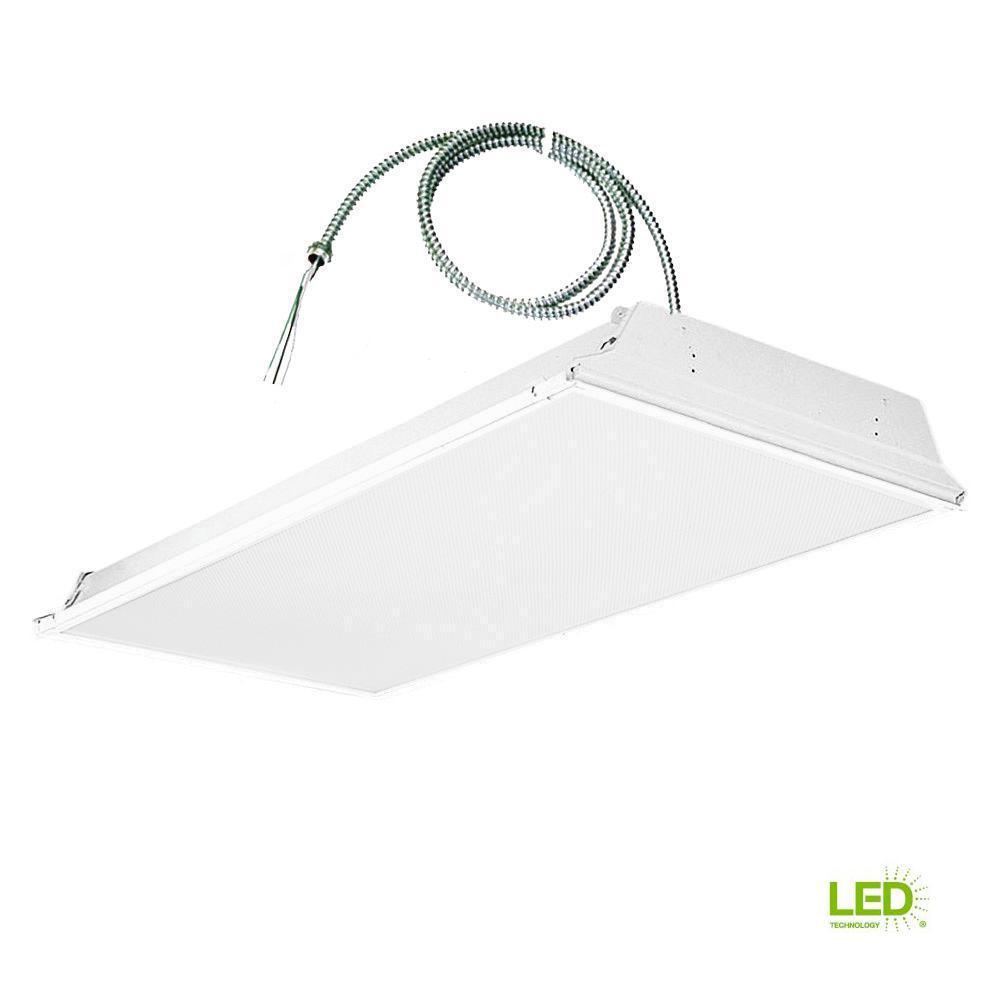 2 ft. x 4 ft. White Lens LED Backlit Grid Ceiling Troffer with 6 ft. Whip