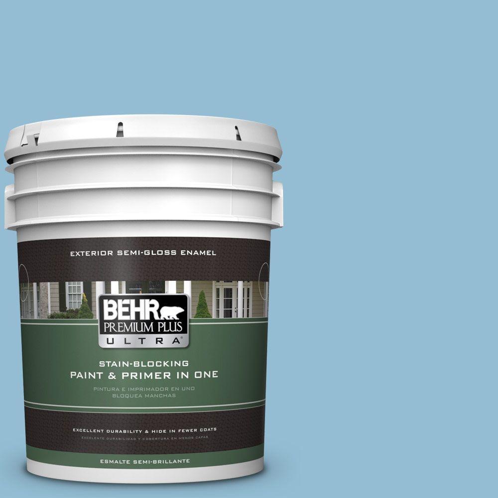 5 gal. #M500-3 Blue Chalk Color Semi-Gloss Enamel Exterior Paint