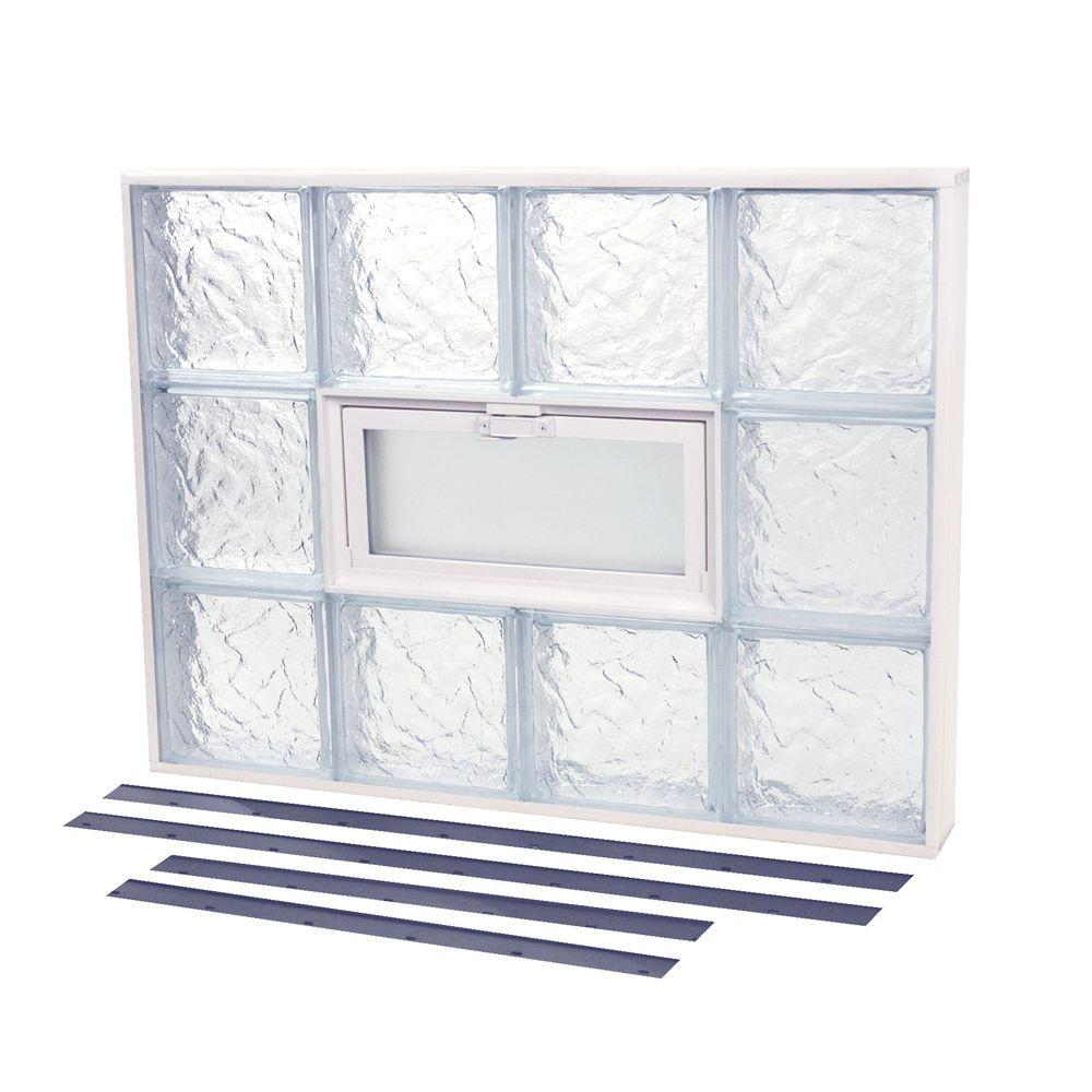 TAFCO WINDOWS 37.375 in. x 21.875 in. NailUp2 Vented Ice Pattern Glass Block Window
