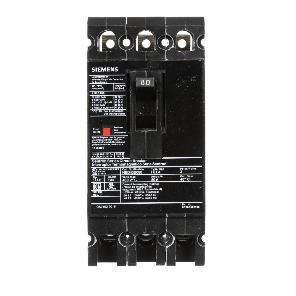 siemens 80 amp 3 pole type ed 42 ka circuit breaker hed43b080 the home depot. Black Bedroom Furniture Sets. Home Design Ideas