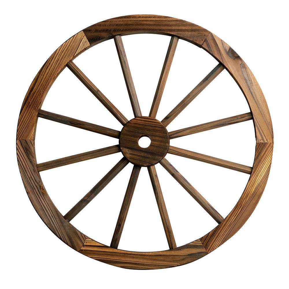 Patio Premier 24 in. Wooden Wagon Wheel in Rustic