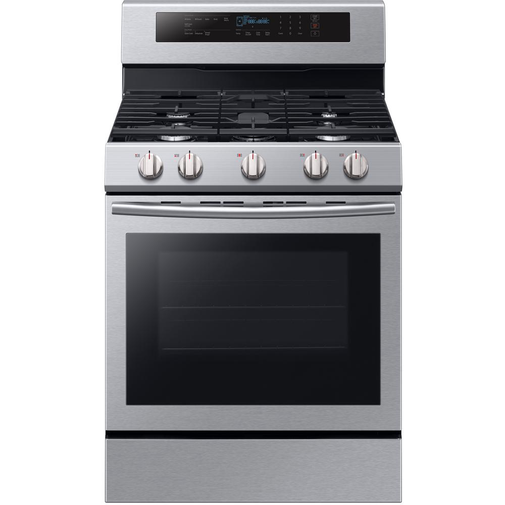 Single Oven Door Gas Range with Illuminated Knobs with True Convection Oven in Stainless Steel-NX58M6630SS - The Home Depot  sc 1 st  The Home Depot & Samsung 30 in. 5.8 cu. ft. Single Oven Door Gas Range with ...