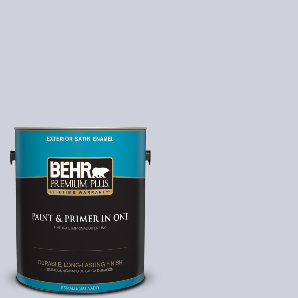 1 gal. #MQ3-61 Moonlit Snow Satin Enamel Exterior Paint and Primer