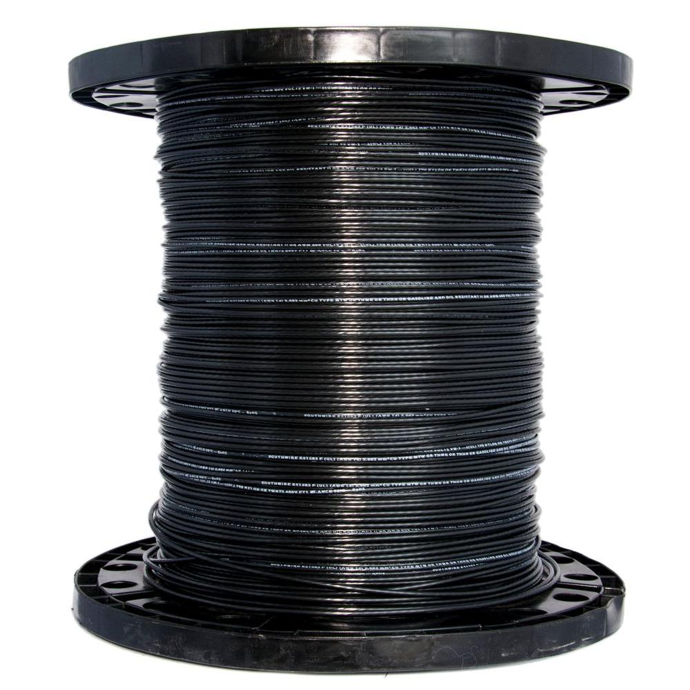 Southwire 2500 ft. 14 Black Solid CU THHN Wire-11579005 - The Home Depot